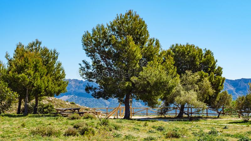 Rest area in mountains, Spain. Spanish mountains landscape with rest stop area, Costa Blanca holiday stock photo