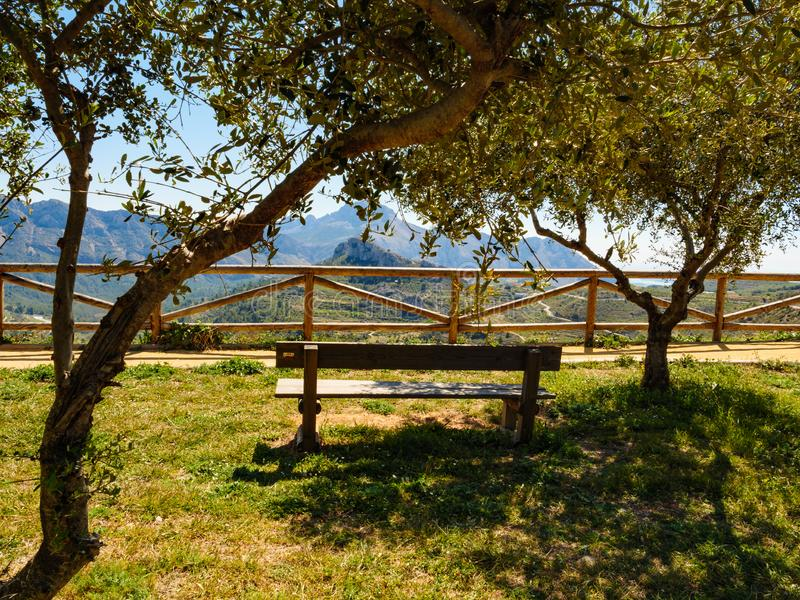 Rest area in mountains, Spain. Spanish mountains landscape with rest stop area, Costa Blanca holiday stock images