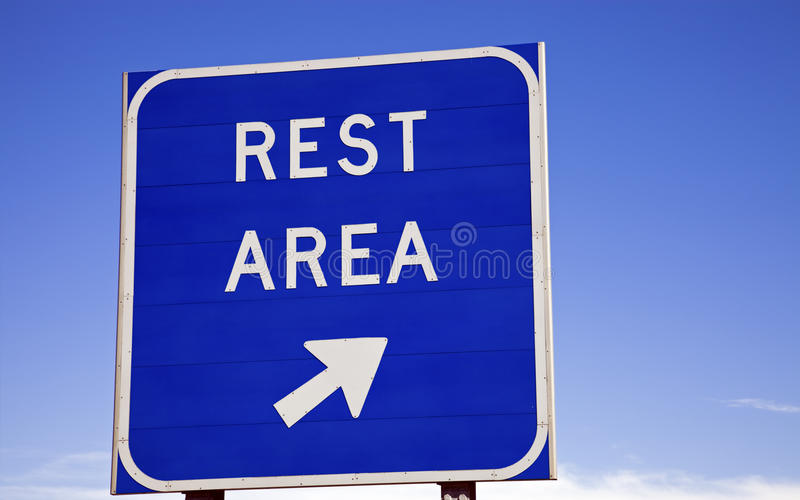 Rest area sign. On the highway royalty free stock image