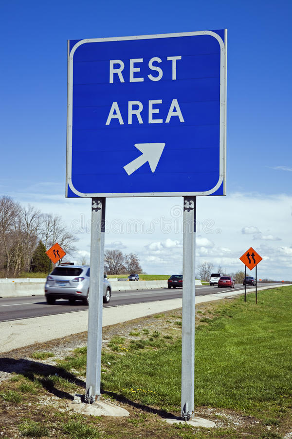 Rest area sign. Rest area blue road sign royalty free stock photo