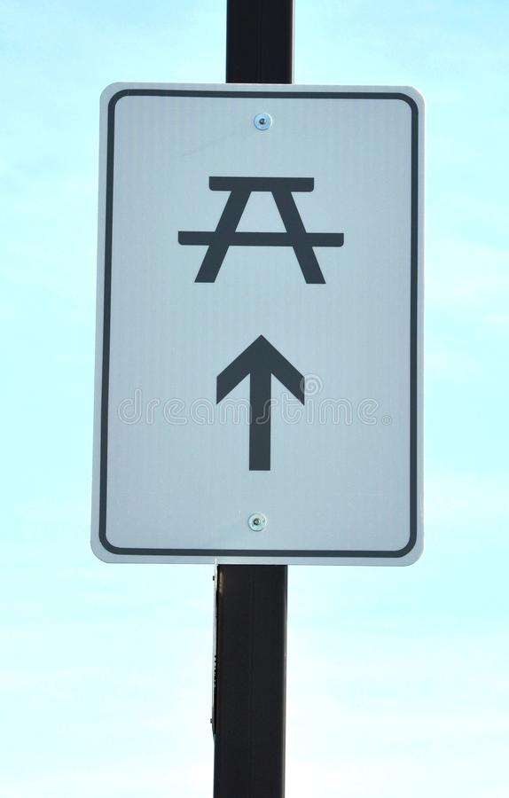 Rest area sign. Posted in a metal pole royalty free stock photo