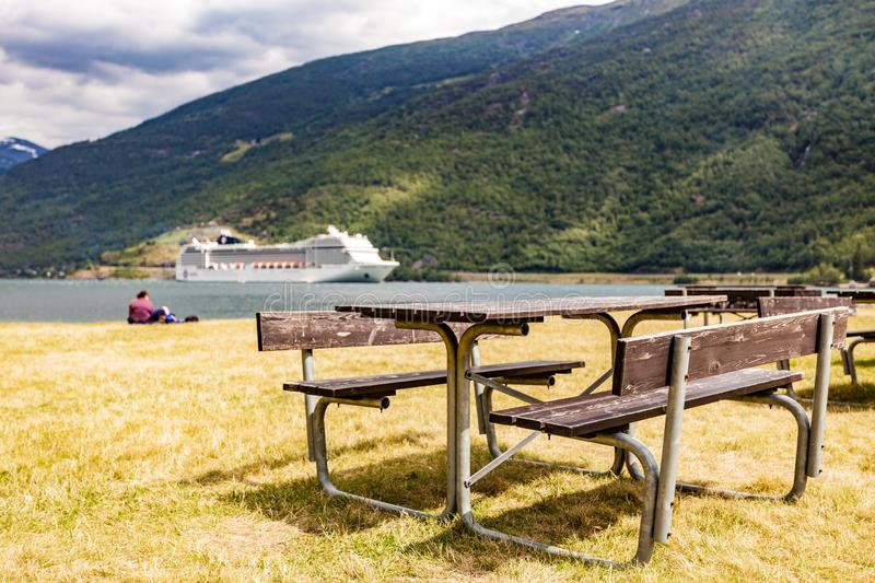 Rest area and cruise ship on fjord, Flam Norway stock photo