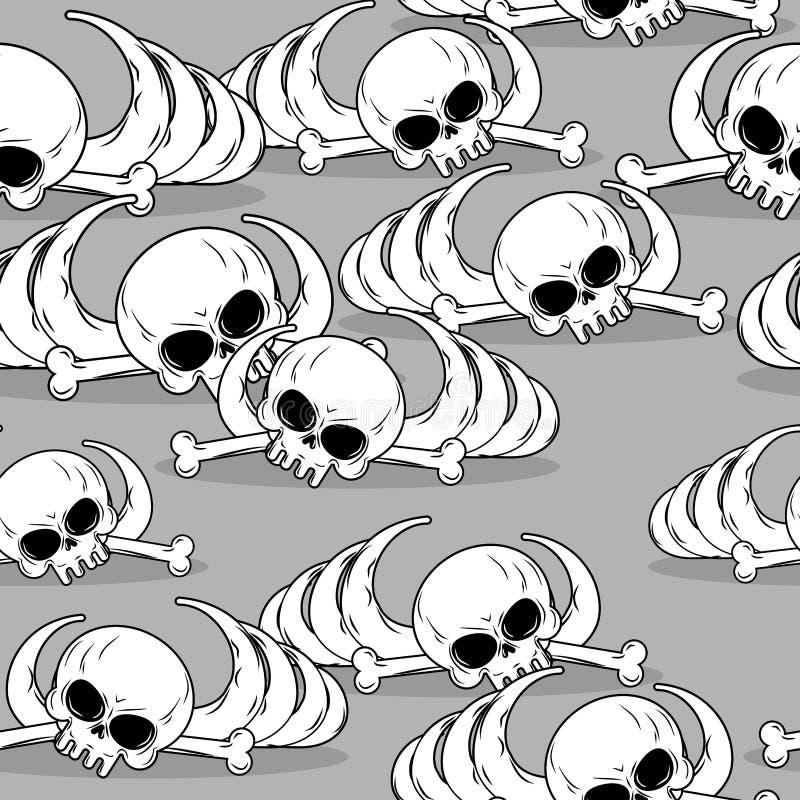 Rest av den skelett- sömlösa modellen Skalle och benprydnad vektor illustrationer