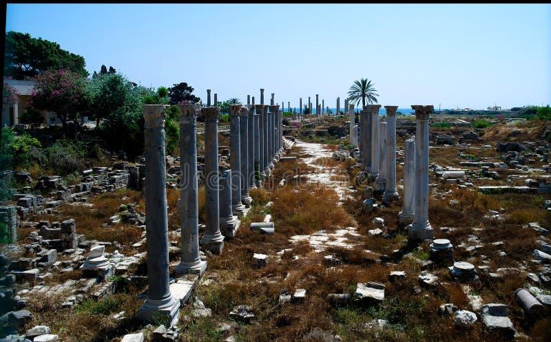 Rest av forntida kolonner, Al Mina utgrävningplats, däck, Libanon fotografering för bildbyråer