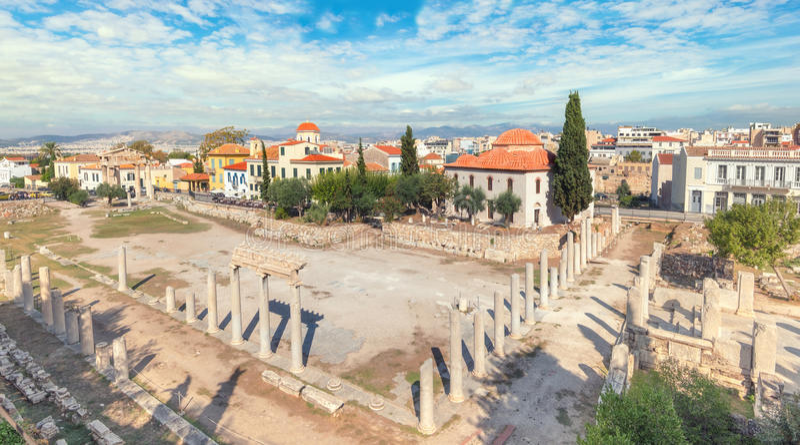 Rest av Roman Agora i Aten, Grekland royaltyfria bilder