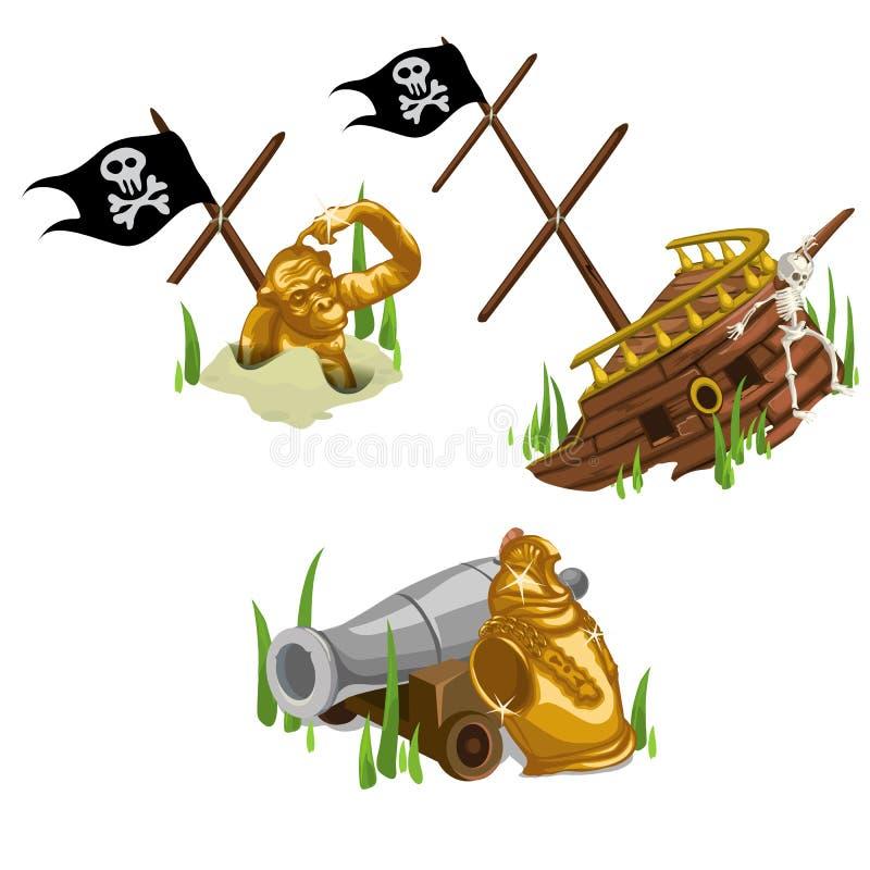 Rest av skeppet, den guld- apan, skelettet och vapnet stock illustrationer