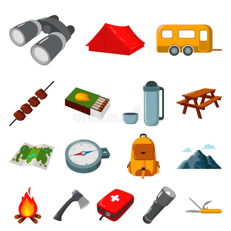 Rest in the camping cartoon icons in set collection for design. Camping and equipment vector symbol stock web royalty free illustration