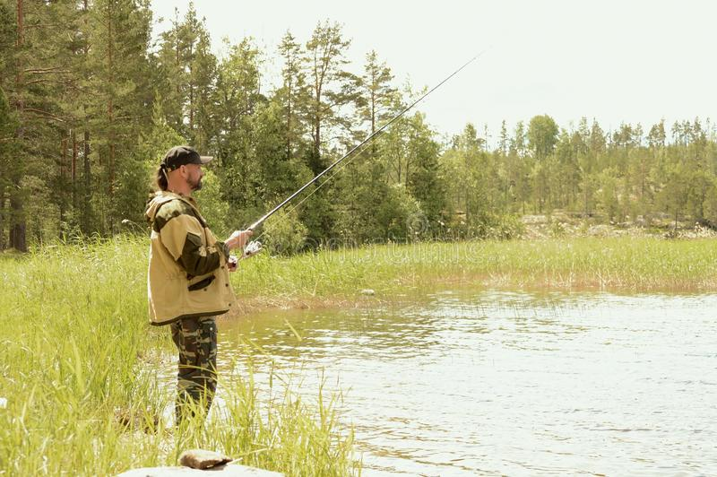 Rest and fishing in Karelia. stock photo