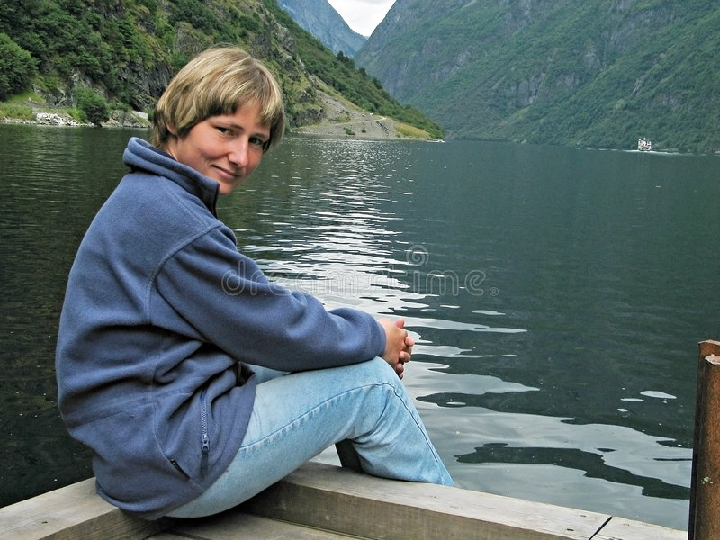 Download Rest in fjords stock photo. Image of mountain, girl, scandinavia - 473254