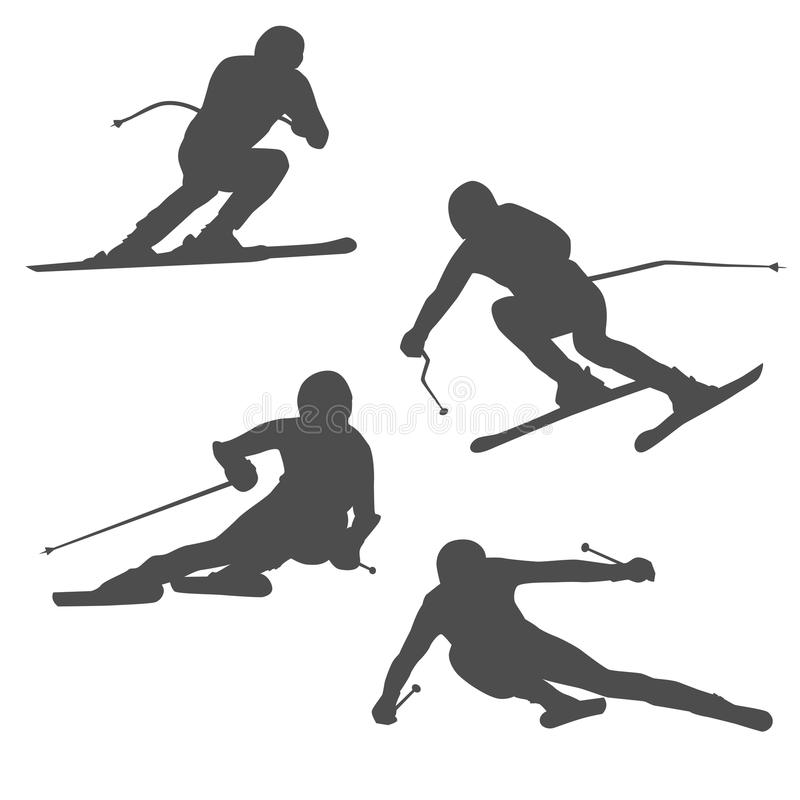 Rest and a healthy lifestyle at mountain resorts. competition and sport, victory and luck. The person goes fast on mountain skiing. an abstract dark silhouette vector illustration