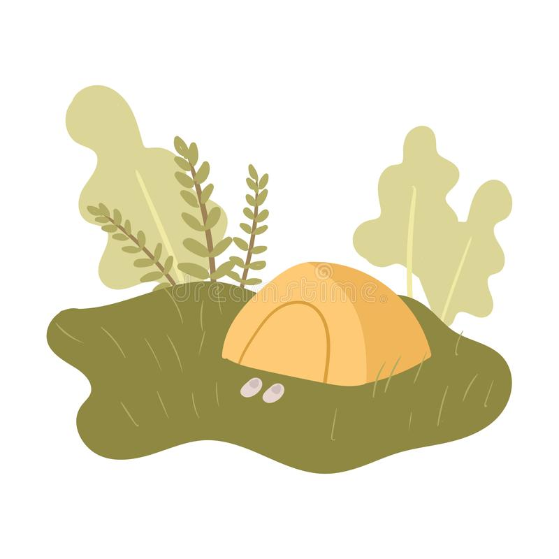 Rest at holidays in peaceful nature place in yellow tent. At green grass. Flat style. Vector illustration on white background vector illustration