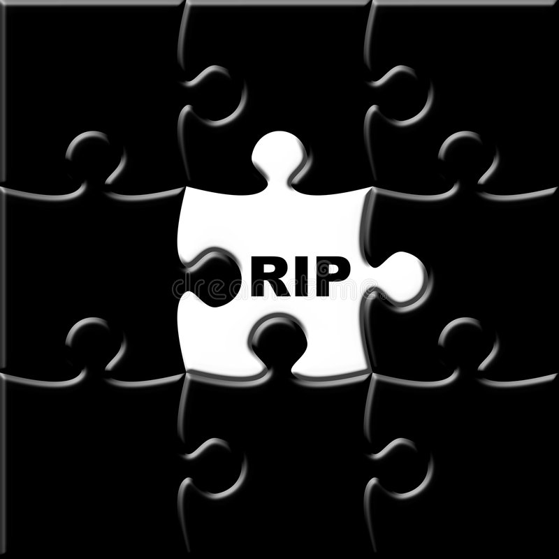 Rest In Peace. Black puzzle with missing piece representing the deceased vector illustration