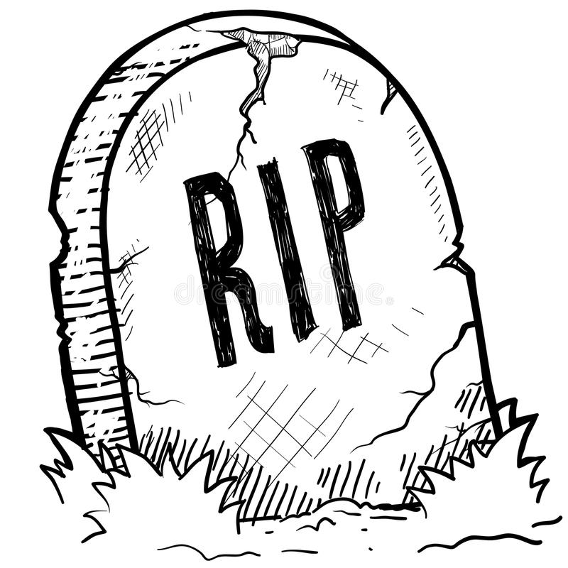 Rest In Peace Grave Sketch Stock Vector Illustration Of