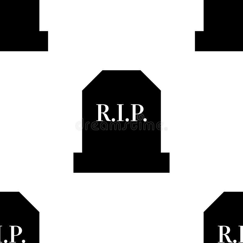 Rest in peace gravestone seamless cemetary pattern illustration. Rest in peace gravestone seamless cemetary pattern illustration royalty free illustration