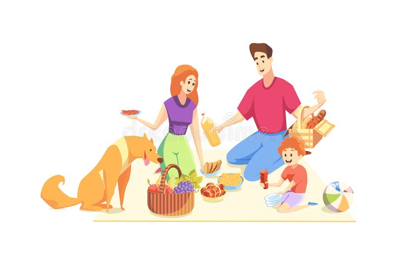 Rest, picknick, familj, faderskap, moderskap, barndomskoncept royaltyfri illustrationer