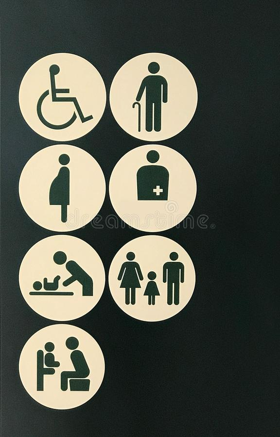 Rest room sign for handicapped, elder, pregnancy, patient, child stock photography