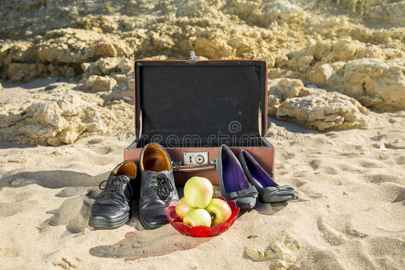 Rest on the sea beach stock photography