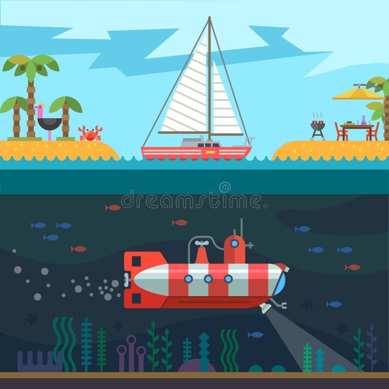 Rest on the sea vector illustration