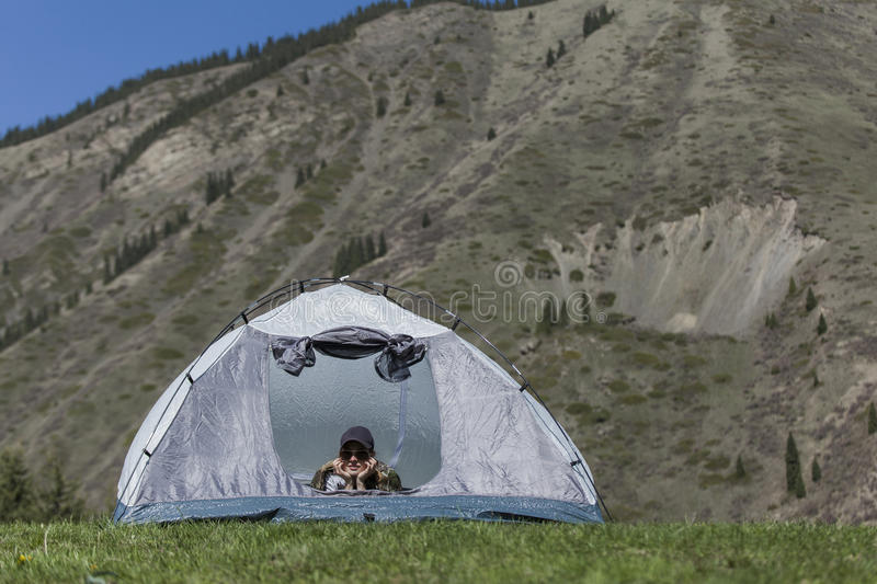 Rest in tent stock images