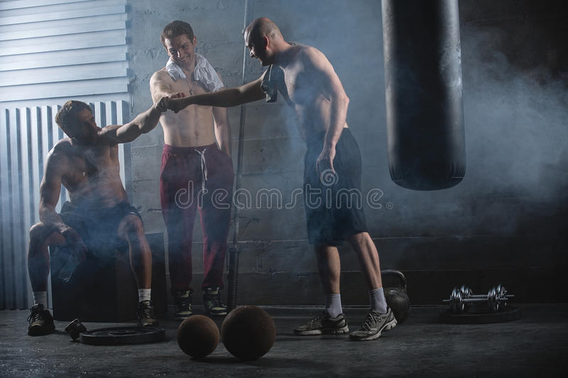 Rest three guys who have completed a complex royalty free stock photos