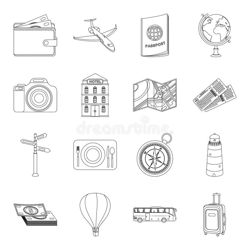 Rest and travel set icons in outline style. Big collection of rest and travel vector symbol stock illustration royalty free illustration