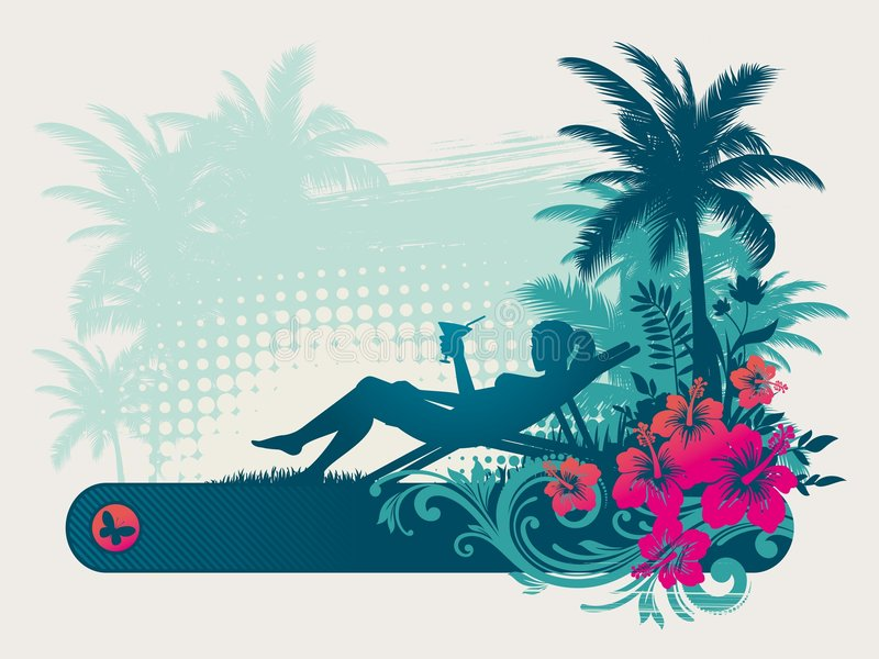 Rest in tropics vector illustration