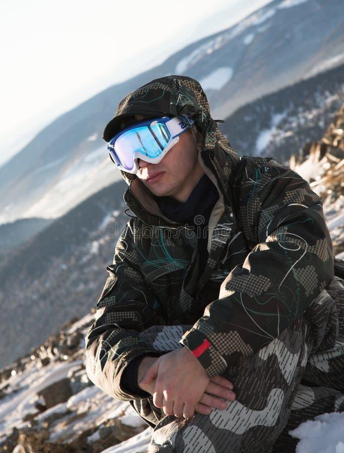 Rest van de skiër stock fotografie
