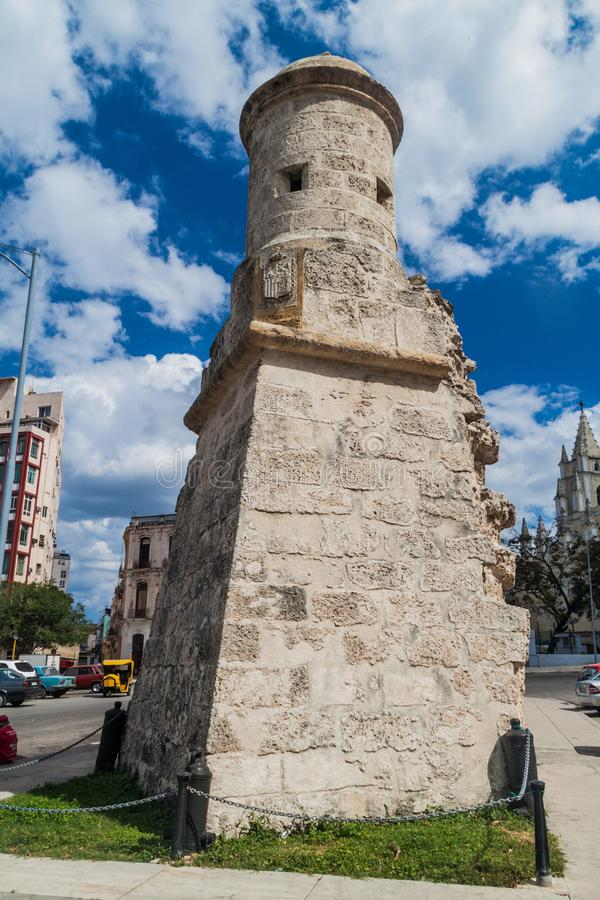 Rest van oude vestingwerkmuren van Havana, Welp royalty-vrije stock foto