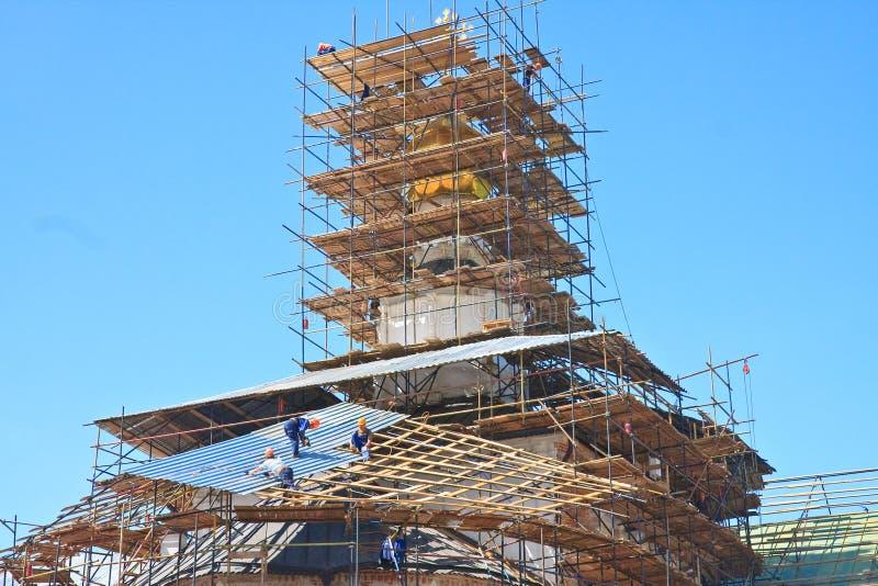 Restauração da igreja Monastério novo de Jerusalem Istra Região de Moscovo imagens de stock royalty free