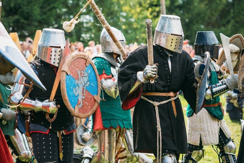 Restauração histórica de lutas cavalheirescos sobre imagens de stock royalty free