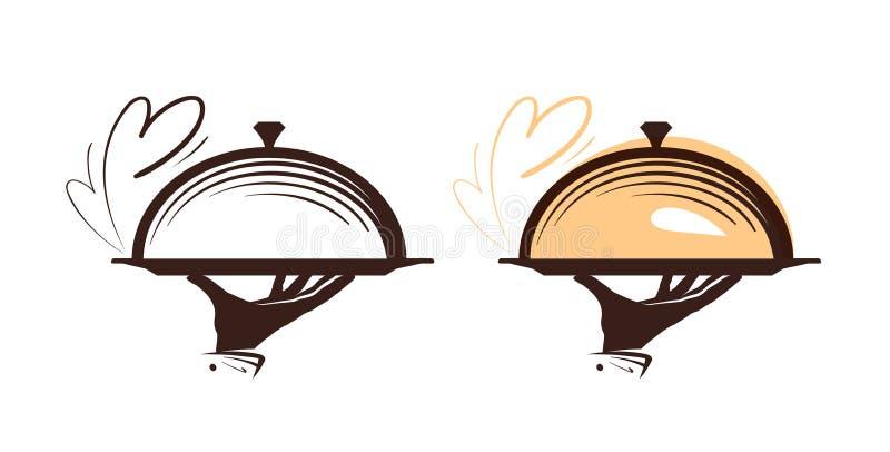 Restauração, logotipo da campânula Ícone para o restaurante ou o café do menu do projeto Ilustração do vetor ilustração royalty free
