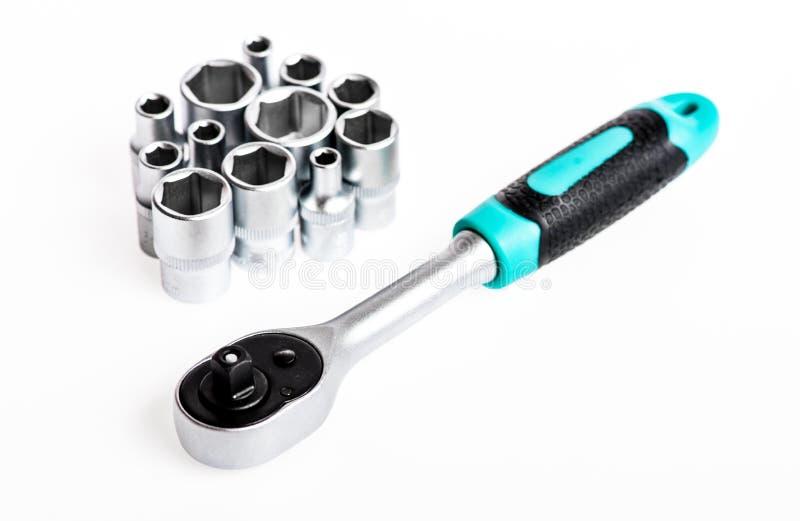 restaura??o Chave de soquete jogo de ferramentas perfeito Aço de vanádio de Chrome equipamento metalizado do reparo chave de soqu imagem de stock