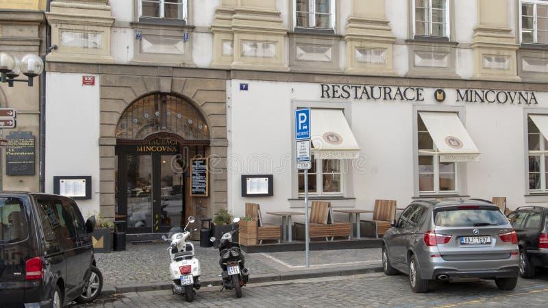 Restaurace Mincovna,老城广场,布拉格,捷克 图库摄影