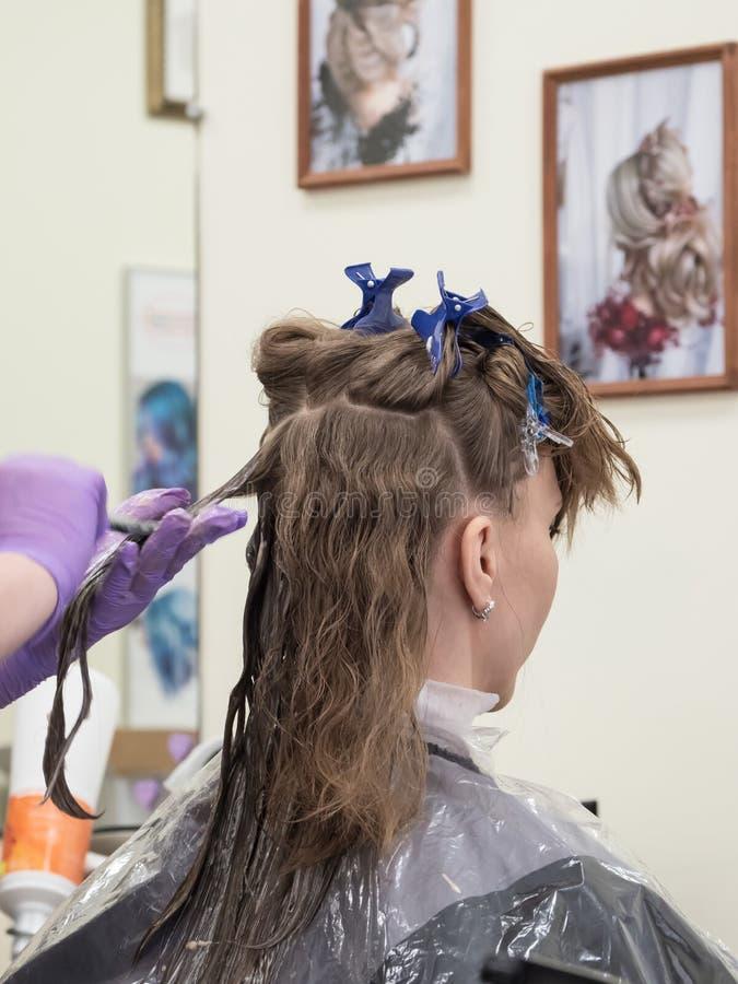 Restauración del pelo largo en el salón de belleza fotos de archivo