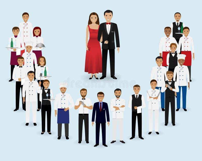 Restauraci drużyna Grupa kierownik, szef kuchni, kelnery, kucharz, barmany i goście stoi wpólnie, Gastronomia personel royalty ilustracja