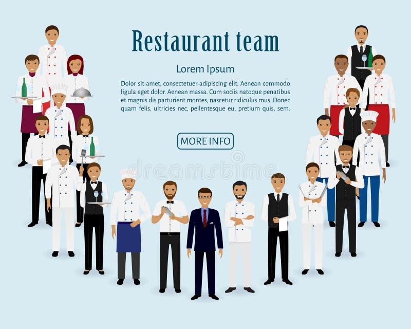 Restauraci drużyna Grupa kierownik, szef kuchni, kelnery, kucharz, barmany stoi wpólnie Gastronomii strony internetowej pięciolin ilustracji