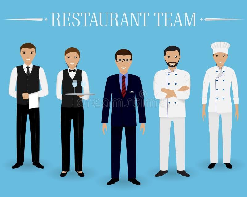 Restauraci drużynowy pojęcie Grupa charaktery stoi wpólnie: kierownik, szef kuchni, kucharz i dwa kelnera w mundurze, ilustracji