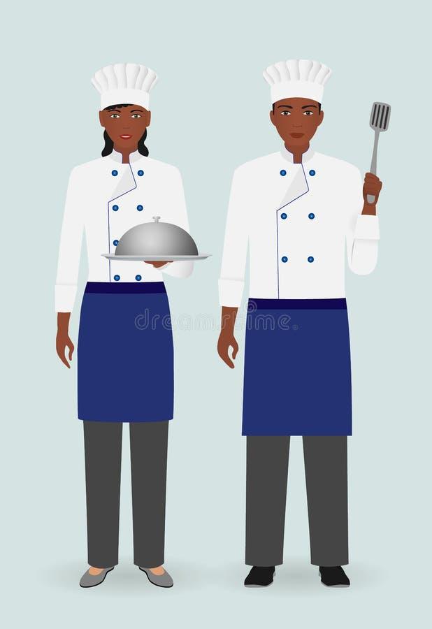 Restauraci drużynowy pojęcie Kulinarni karmowi charaktery Para męscy i żeńscy szefowie kuchni stoi wraz z naczyniem ilustracja wektor