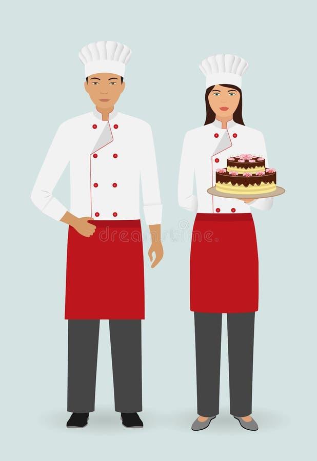 Restauraci drużynowy pojęcie Para kelner i kelnerka z tortem na naczyniu i w munduru stojaku wpólnie ilustracji