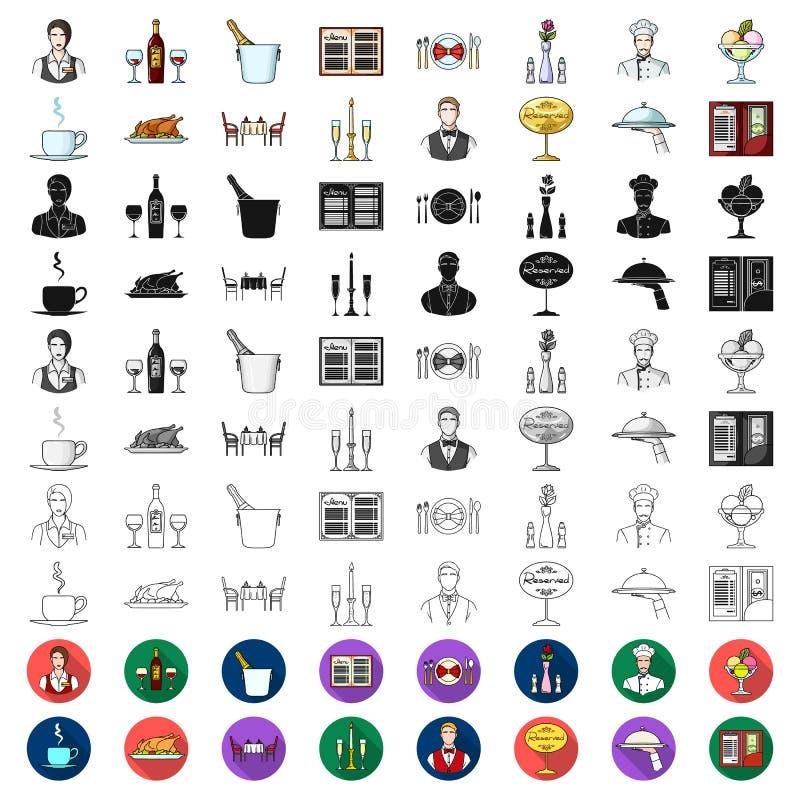 Restauraci i baru kreskówki ikony w ustalonej kolekci dla projekta Przyjemności, jedzenia i alkoholu wektorowy symbol, zaopatruje royalty ilustracja
