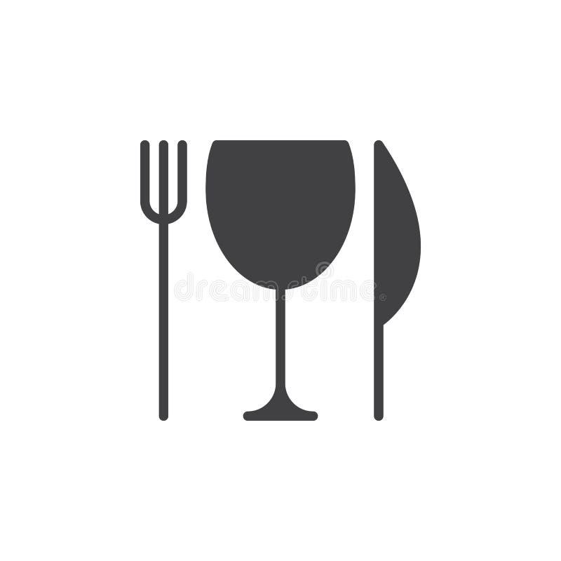 Restauraci, noża, rozwidlenia i szkła ikony wektor, wypełniający mieszkanie znak, stały piktogram odizolowywający na bielu royalty ilustracja