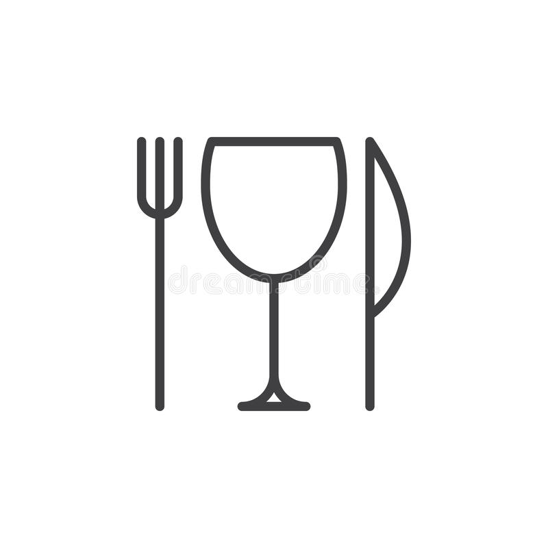 Restauraci, noża, rozwidlenia i szkła kreskowa ikona, konturu wektoru znak, liniowy stylowy piktogram odizolowywający na bielu royalty ilustracja