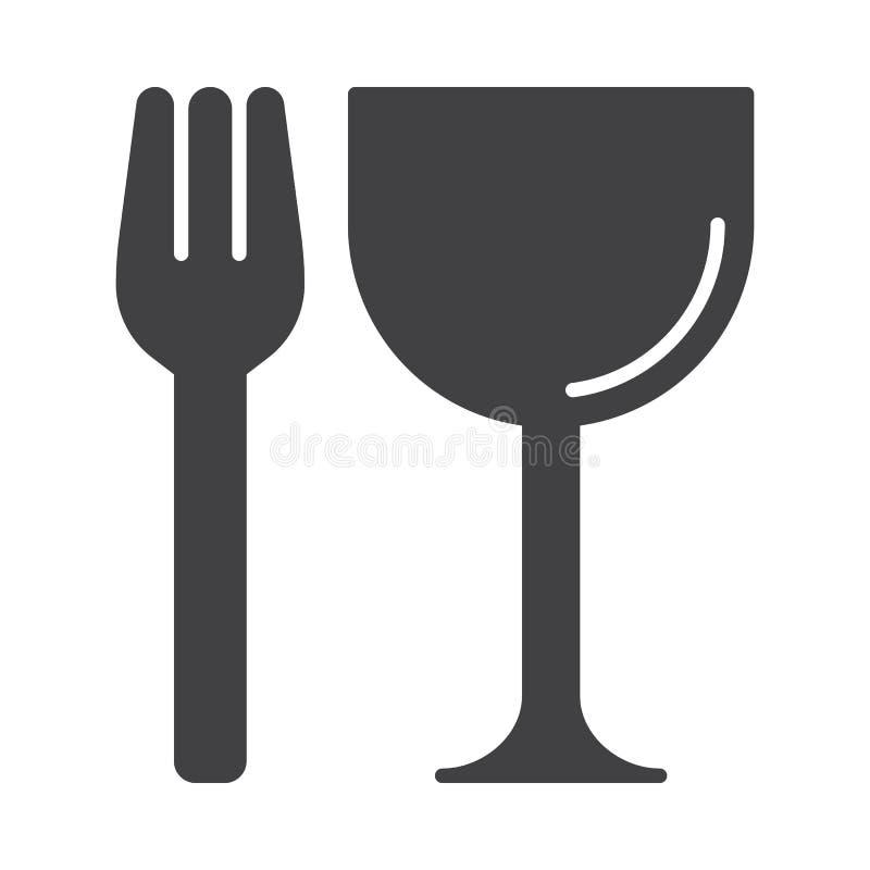 Restauraci, rozwidlenia i szkła ikony wektor, wypełniający mieszkanie znak, stały piktogram odizolowywający na bielu royalty ilustracja