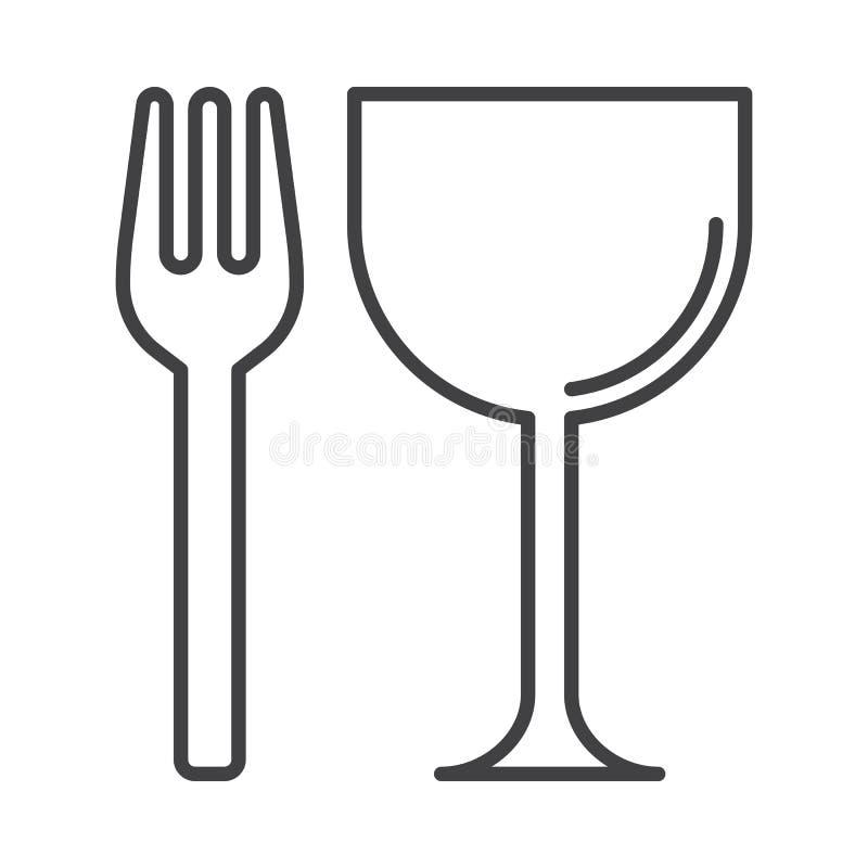 Restauraci, rozwidlenia i szkła kreskowa ikona, konturu wektoru znak, liniowy stylowy piktogram odizolowywający na bielu ilustracja wektor