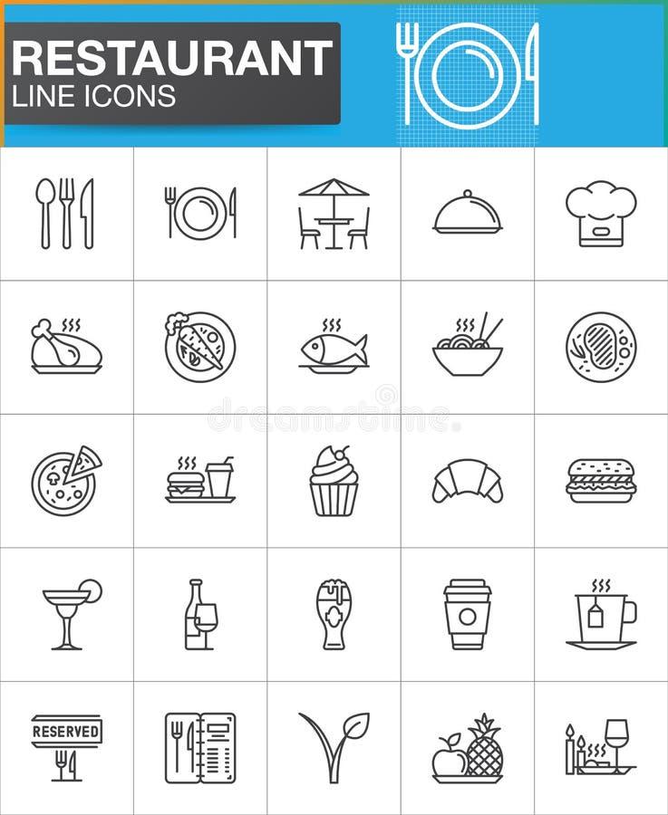 Restauracj kreskowe ikony ustawiają, konturu symbolu wektorowa kolekcja ilustracja wektor