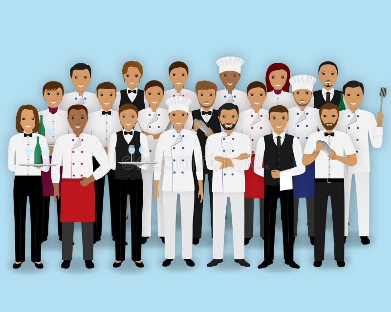 Restauracja drużynowi charaktery w mundurze Grupa catering usługa szefa kuchni kucharza barman i kelnerów ludzie ilustracja wektor
