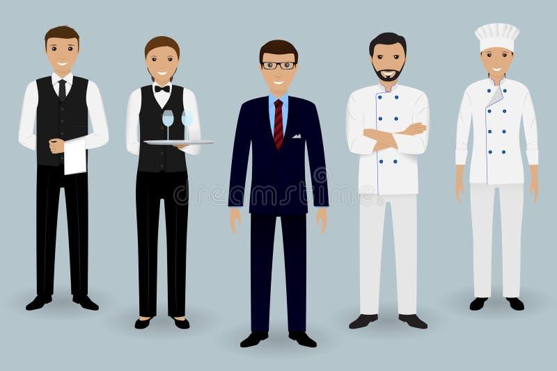 Restauracja drużynowi młodzi charaktery Kierownik pozycja z szefem kuchni, kucharzem i dwa kelnerami w mundurze, ilustracji