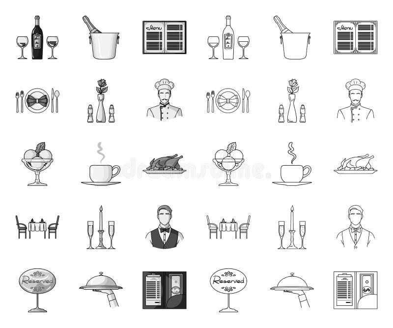 Restauracja i bar mono, kontur ikony w ustalonej kolekcji dla projekta Przyjemno?ci, jedzenia i alkoholu wektorowy symbol, zaopat ilustracji
