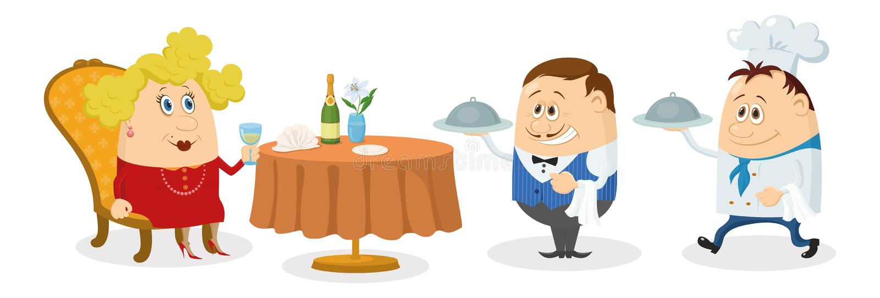 Restauracja, kobieta, kelner i kucharz, ilustracja wektor