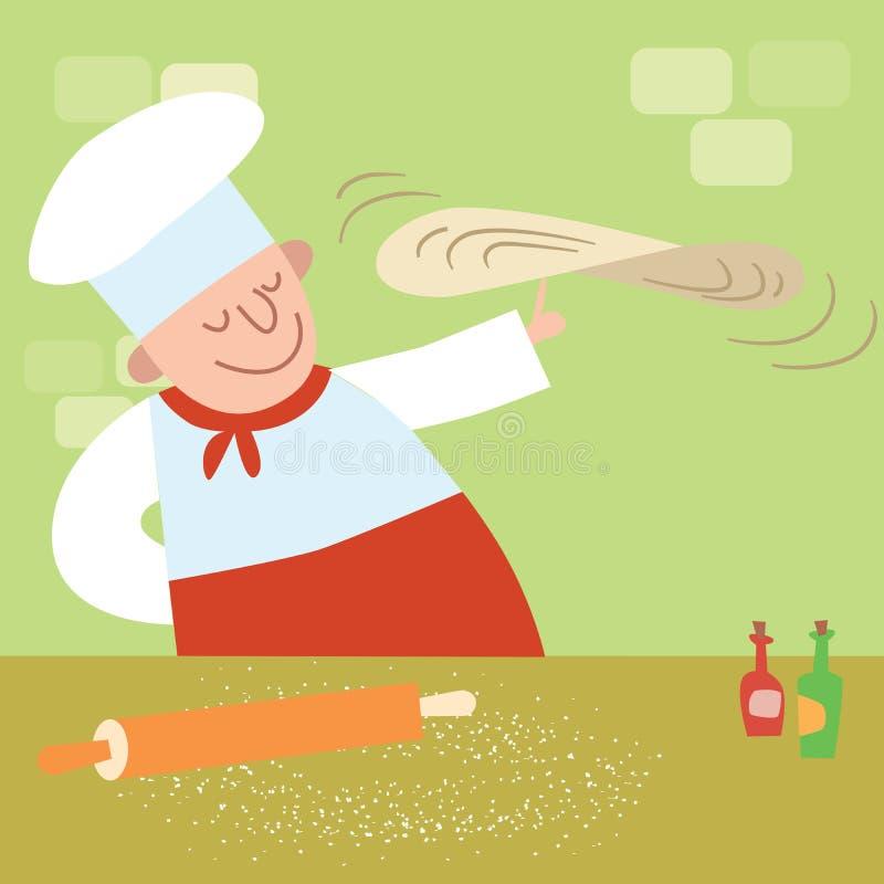 Restauracja kucharz w kuchennej kulinarnej pizzy ilustracja wektor